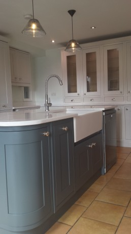 Resprayed Kitchen Island Dark Blue